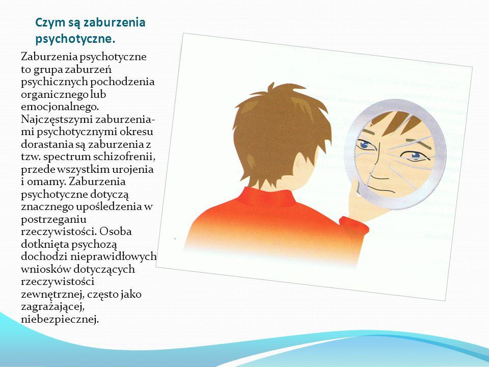 Czym są zaburzenia psychotyczne. Zaburzenia psychotyczne to grupa zaburzeń psychicznych pochodzenia organicznego lub emocjonalnego. Najczęstszymi zabu