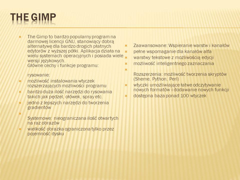 The Gimp to bardzo popularny program na darmowej licencji GNU, stanowiący dobrą alternatywę dla bardzo drogich płatnych edytorów z wyższej półki. Apli
