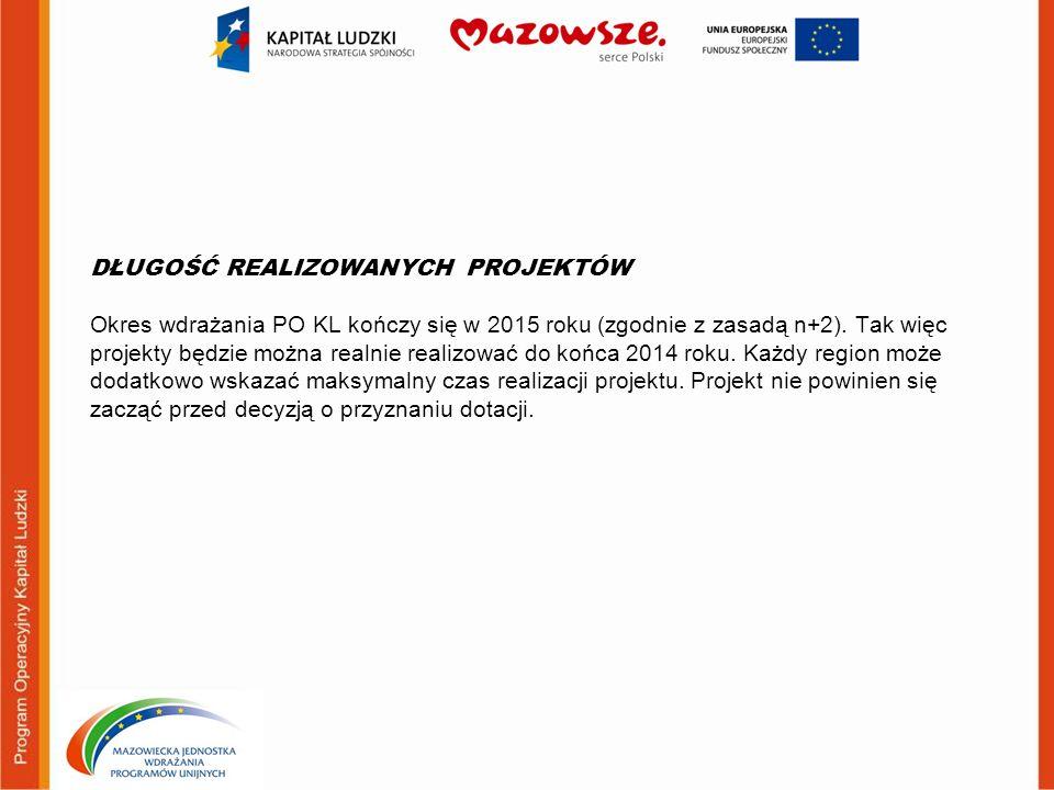 DŁUGOŚĆ REALIZOWANYCH PROJEKTÓW Okres wdrażania PO KL kończy się w 2015 roku (zgodnie z zasadą n+2). Tak więc projekty będzie można realnie realizować