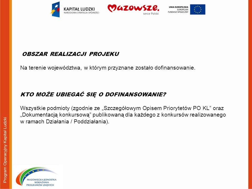 OBSZAR REALIZACJI PROJEKU Na terenie województwa, w którym przyznane zostało dofinansowanie.
