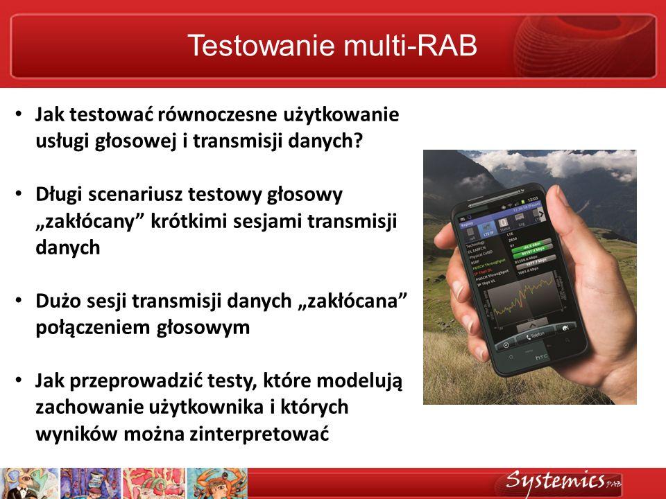 Testowanie multi-RAB Jak testować równoczesne użytkowanie usługi głosowej i transmisji danych? Długi scenariusz testowy głosowy zakłócany krótkimi ses
