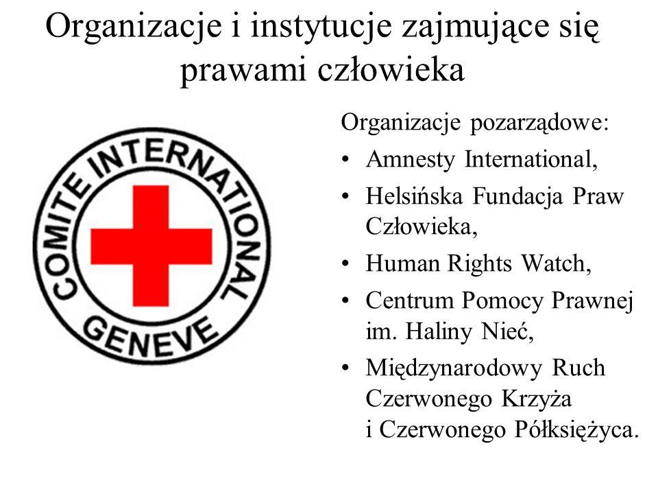 Organizacje i instytucje zajmujące się prawami człowieka Instytucje skargi: Rada Praw Człowieka ONZ, Komitet Praw Człowieka ONZ, Europejski Trybunał P