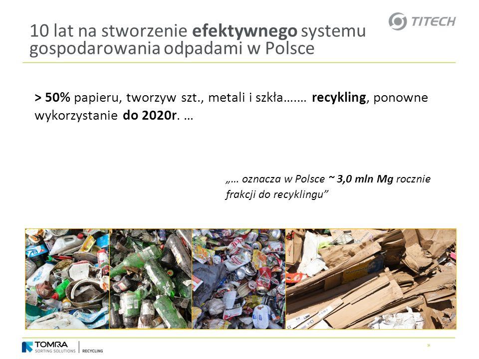 » 10 lat na stworzenie efektywnego systemu gospodarowania odpadami w Polsce > 50% papieru, tworzyw szt., metali i szkła….… recykling, ponowne wykorzys