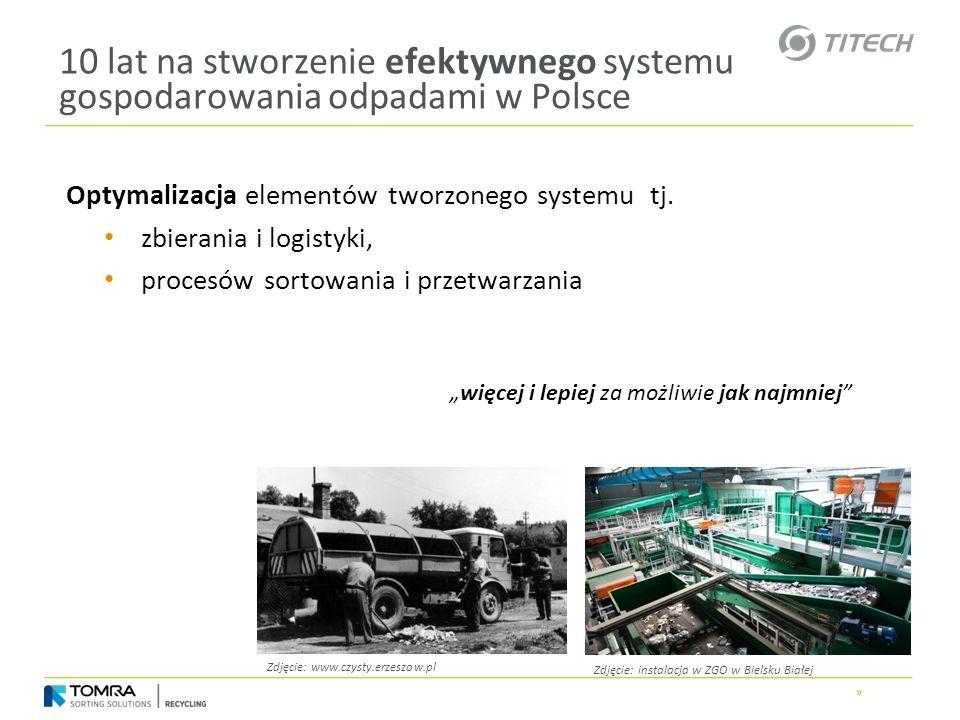 » 10 lat na stworzenie efektywnego systemu gospodarowania odpadami w Polsce Optymalizacja elementów tworzonego systemu tj. zbierania i logistyki, proc