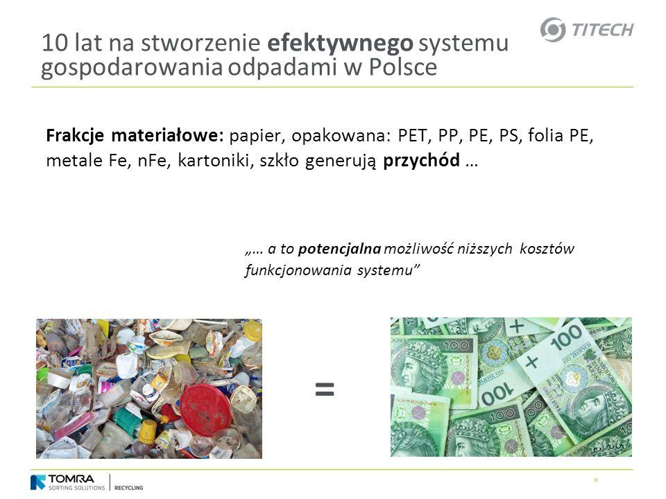 » 10 lat na stworzenie efektywnego systemu gospodarowania odpadami w Polsce Frakcje materiałowe: papier, opakowana: PET, PP, PE, PS, folia PE, metale
