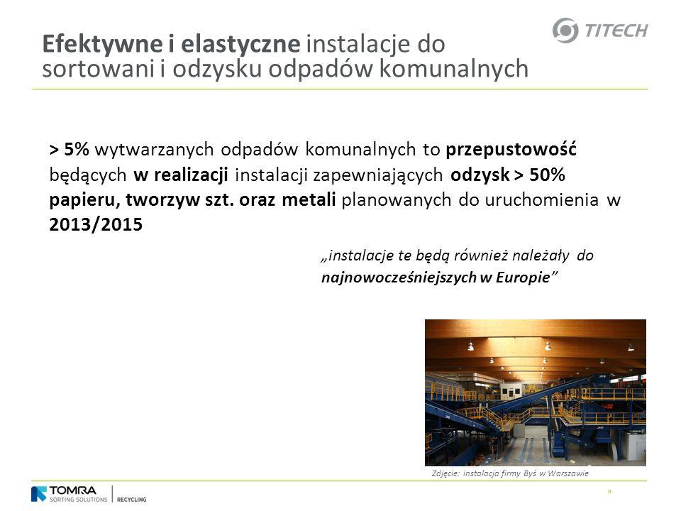 » Efektywne i elastyczne instalacje do sortowani i odzysku odpadów komunalnych > 5% wytwarzanych odpadów komunalnych to przepustowość będących w reali