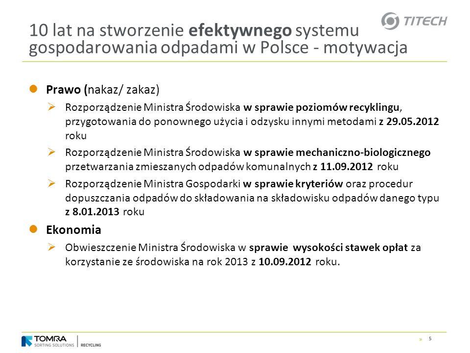 » 10 lat na stworzenie efektywnego systemu gospodarowania odpadami w Polsce - motywacja Prawo (nakaz/ zakaz) Rozporządzenie Ministra Środowiska w spra
