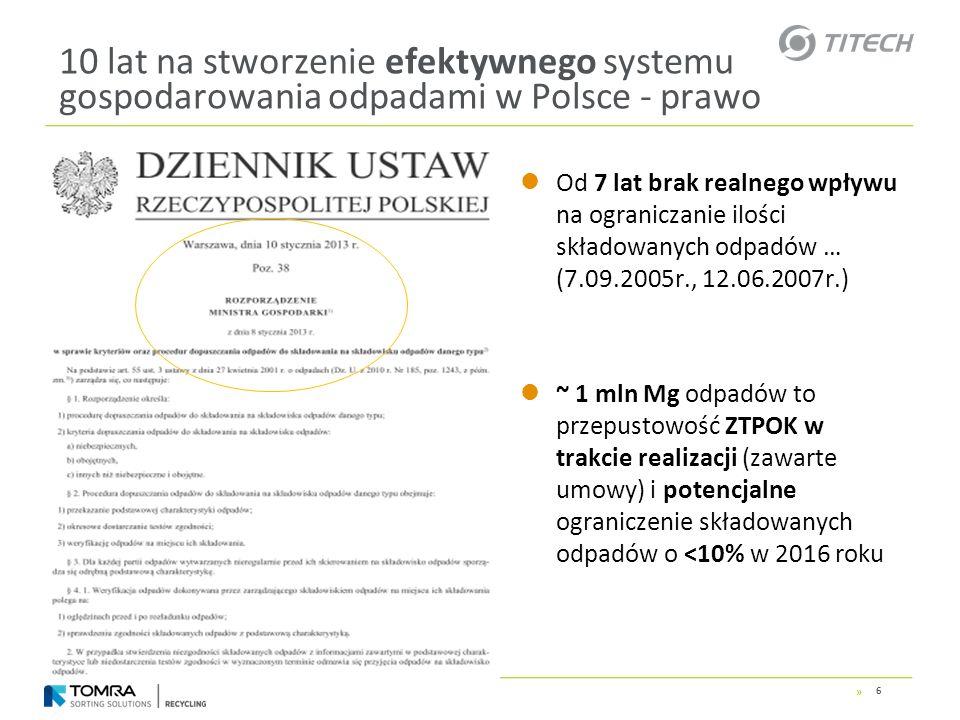 » 10 lat na stworzenie efektywnego systemu gospodarowania odpadami w Polsce - prawo 50% papieru, tworzyw szt., metali i szkła do recyklingu może oznaczać w skali kraju redukcję ilości (masy) składowanych odpadów nawet o ~20-25%* (~ 2,5 – 3,0 mln Mg rocznie od 2020 roku) *) Cel dla roku 2020 wynikający z rozporządzenia w sprawie poziomów recyklingu …… z 29.05.2012r.