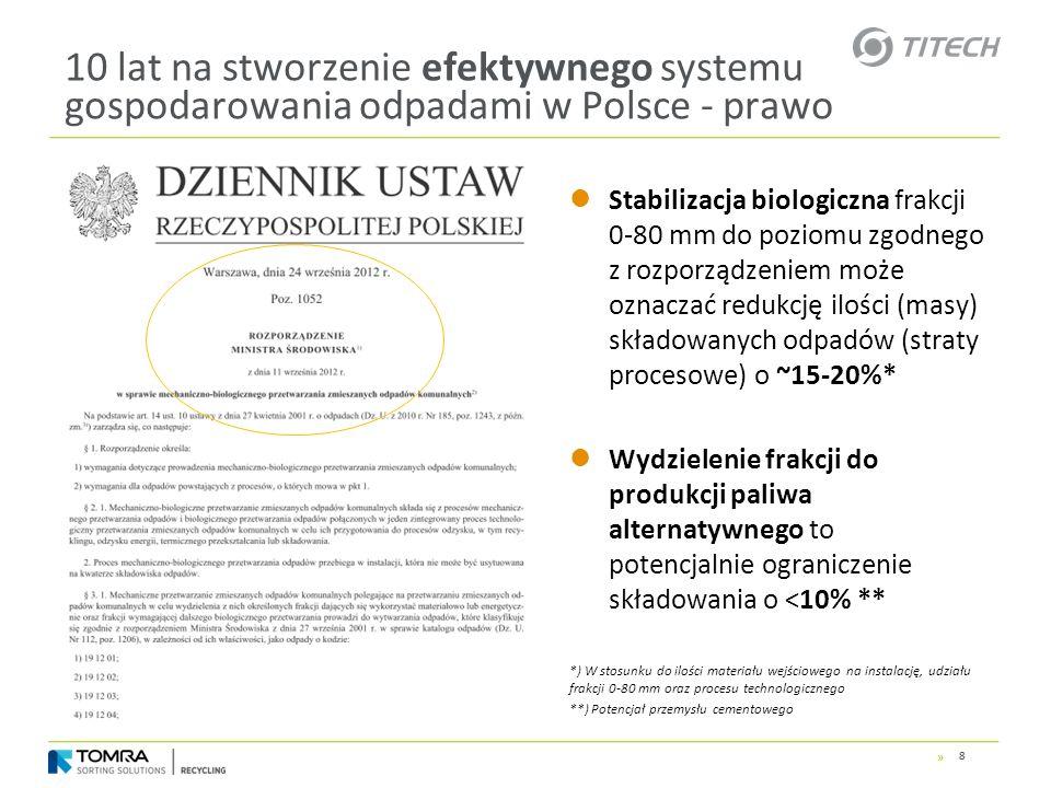 » 10 lat na stworzenie efektywnego systemu gospodarowania odpadami w Polsce - prawo Stabilizacja biologiczna frakcji 0-80 mm do poziomu zgodnego z roz