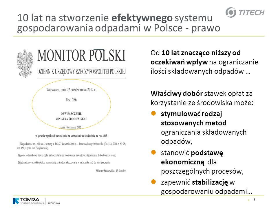 » 10 lat na stworzenie efektywnego systemu gospodarowania odpadami w Polsce - prawo Od 10 lat znacząco niższy od oczekiwań wpływ na ograniczanie ilośc