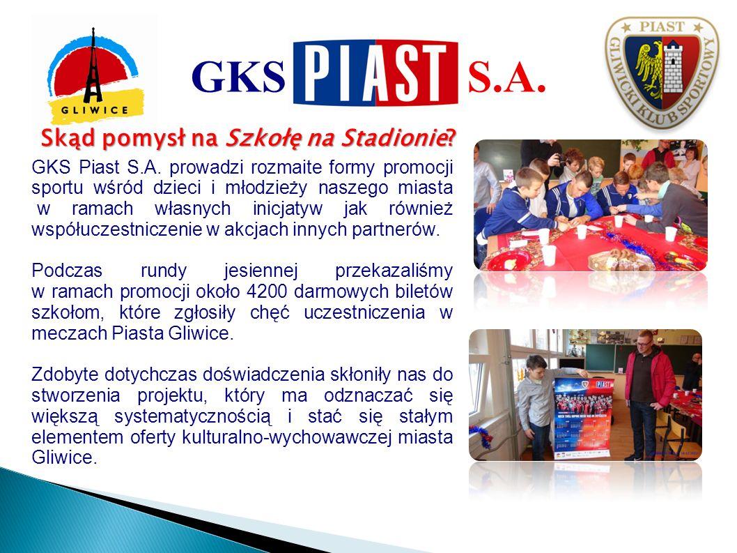 Skąd pomysł na Szkołę na Stadionie? GKS Piast S.A. prowadzi rozmaite formy promocji sportu wśród dzieci i młodzieży naszego miasta w ramach własnych i