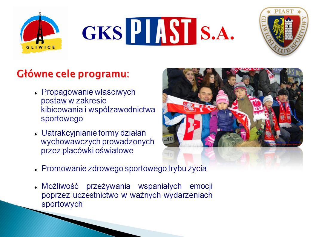 Założenia organizacyjne: 1.Na każdy mecz GKS Piast SA zaprasza 8 - 10 szkół, 1030 osób.