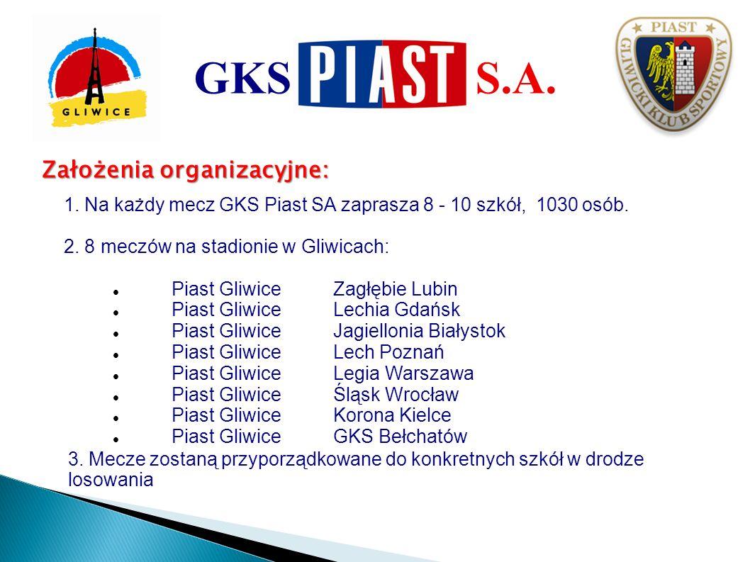 Założenia organizacyjne: 1. Na każdy mecz GKS Piast SA zaprasza 8 - 10 szkół, 1030 osób. 2. 8 meczów na stadionie w Gliwicach: Piast GliwiceZagłębie L