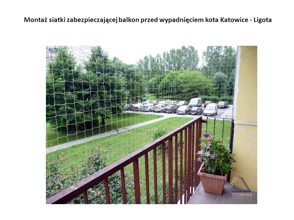 Montaż siatki zabezpieczającej balkon przed wypadnięciem kota Katowice - Ligota