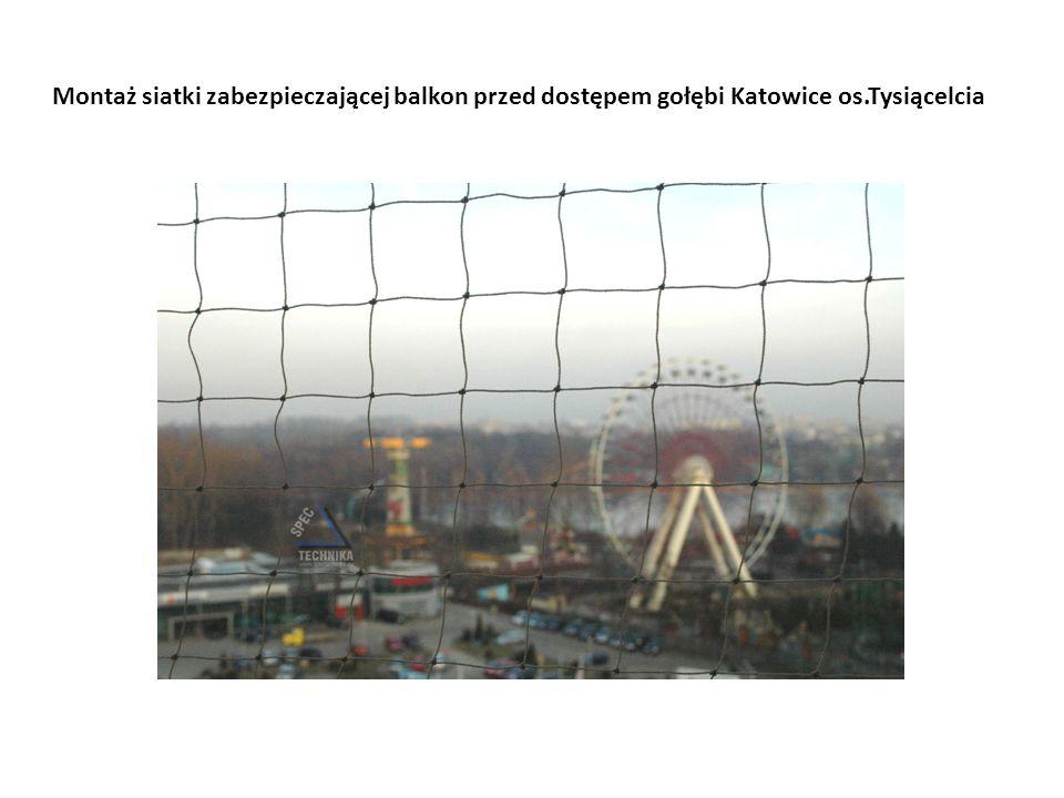 Montaż siatki zabezpieczającej balkon przed dostępem gołębi Katowice os.Tysiącelcia
