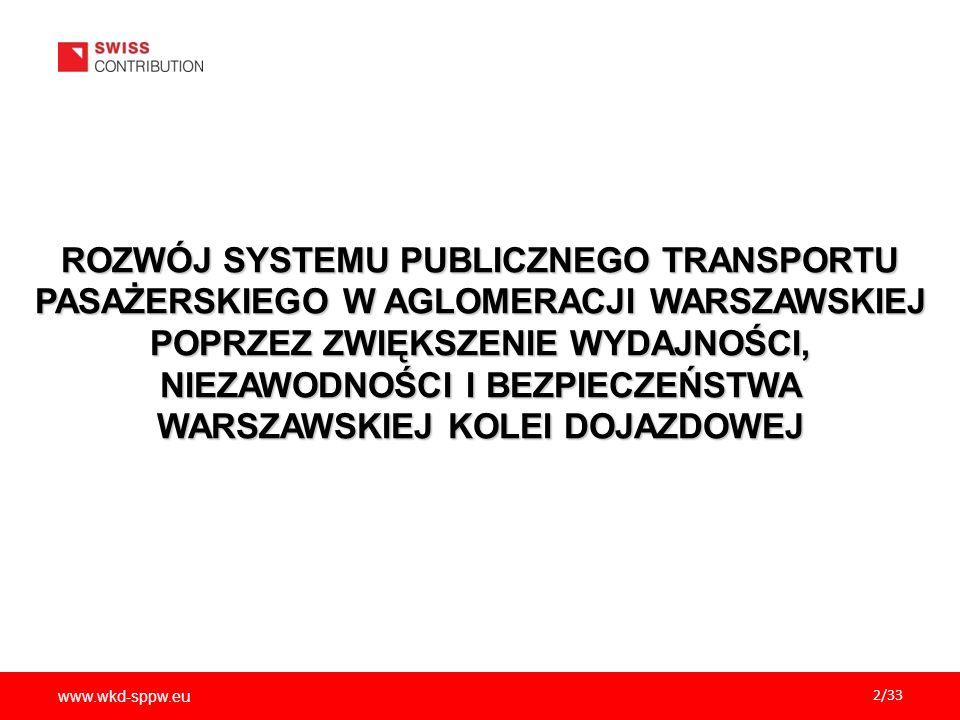 www.wkd-sppw.eu 23/33 WPŁYW PROJEKTU NA ZAGADNIENIA PRZEKROJOWE Aspekty środowiskowe - redukcja zanieczyszczeń i hałasu Aspekty środowiskowe - redukcja zanieczyszczeń i hałasu Aspekty ekonomiczno-społeczne – zmniejszenie kosztów społecznych transportu Aspekty ekonomiczno-społeczne – zmniejszenie kosztów społecznych transportu Wyrównywanie szans osób niepełnosprawnych i wykluczonych Wyrównywanie szans osób niepełnosprawnych i wykluczonych Równouprawnienie płci Równouprawnienie płci Realizacja polityki zrównoważonego rozwoju transportu – poprzez zwiększenie roli transportu Realizacja polityki zrównoważonego rozwoju transportu – poprzez zwiększenie roli transportu zbiorowego w strukturze codziennych dojazdów zbiorowego w strukturze codziennych dojazdów