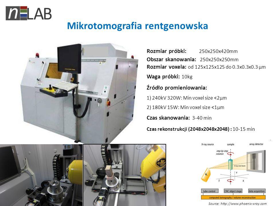 Mikrotomografia rentgenowska Source: http://www.phoenix-xray.com Rozmiar próbki: 250x250x420mm Obszar skanowania: 250x250x250mm Rozmiar voxela: od 125