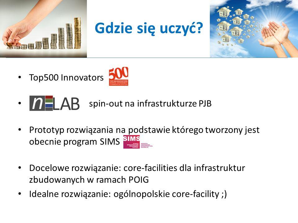 Gdzie się uczyć? Top500 Innovators spin-out na infrastrukturze PJB Prototyp rozwiązania na podstawie którego tworzony jest obecnie program SIMS Docelo