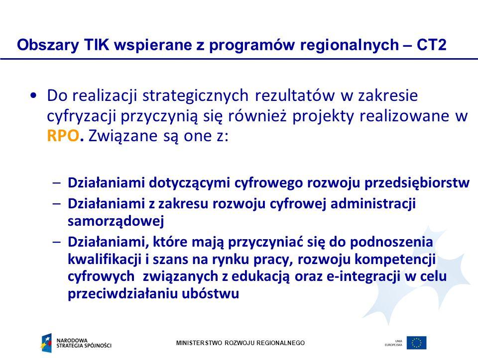 MINISTERSTWO ROZWOJU REGIONALNEGO Obszary TIK wspierane z programów regionalnych – CT2 Do realizacji strategicznych rezultatów w zakresie cyfryzacji przyczynią się również projekty realizowane w RPO.