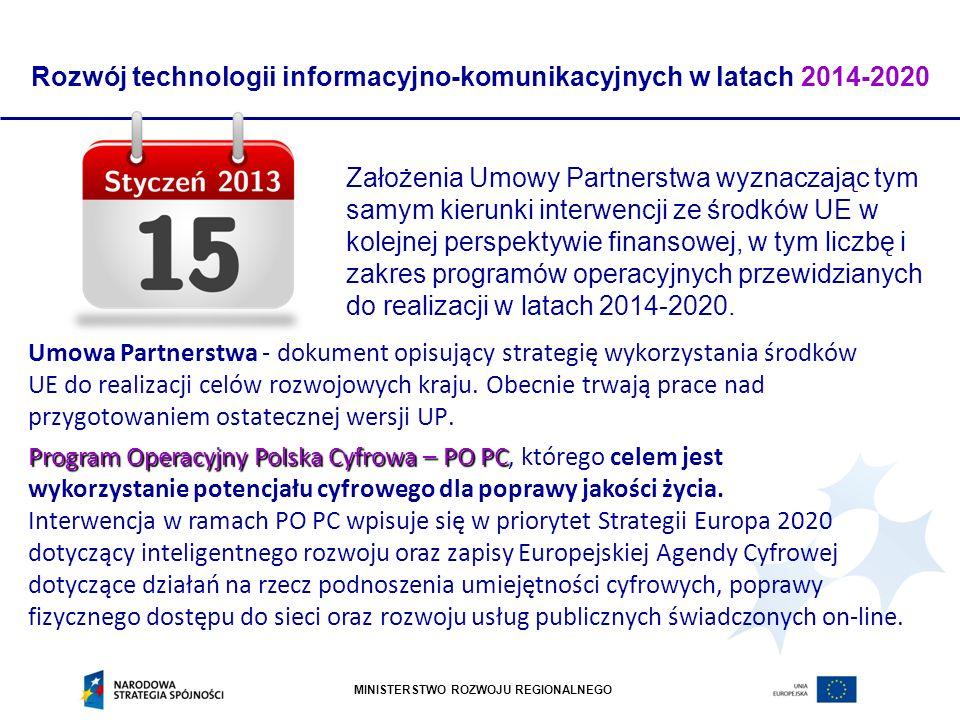 MINISTERSTWO ROZWOJU REGIONALNEGO Umowa Partnerstwa - dokument opisujący strategię wykorzystania środków UE do realizacji celów rozwojowych kraju. Obe