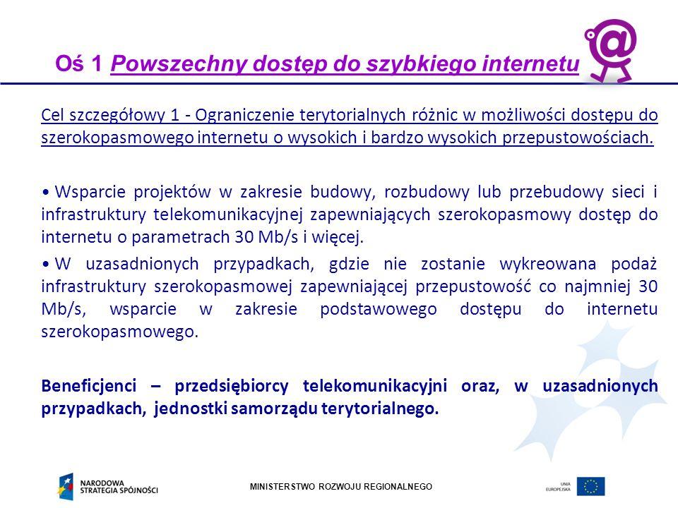 MINISTERSTWO ROZWOJU REGIONALNEGO Mechanizmy koordynacji i komplementarności : sieci szerokopasmowe Podział zakresów interwencji Fundusze UE: cały zakres w POPC (ewentualne środki krajowe z programu Inwestycje Polskie) Procesy wyboru projektów Oparte na kryteriach strategicznych (białe plamy) i ekonomicznych w oparciu o inwentaryzację infrastruktury telekomunikacyjnej prowadzonej przez MAiC.