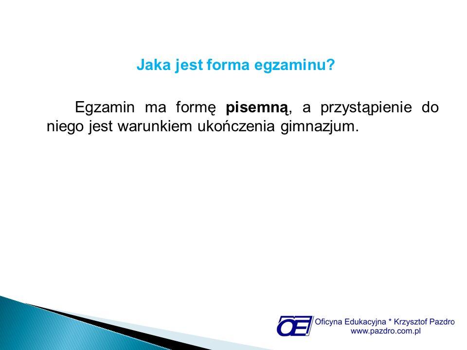 Jaka jest struktura egzaminu.