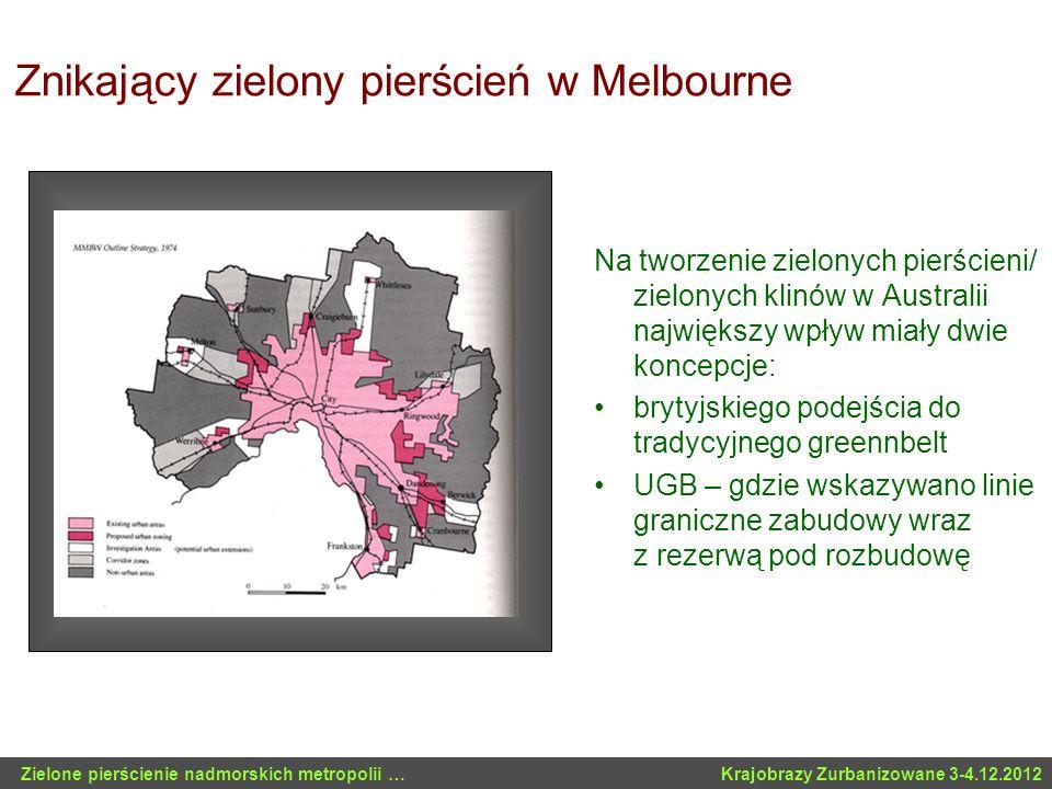 Znikający zielony pierścień w Melbourne Na tworzenie zielonych pierścieni/ zielonych klinów w Australii największy wpływ miały dwie koncepcje: brytyjs