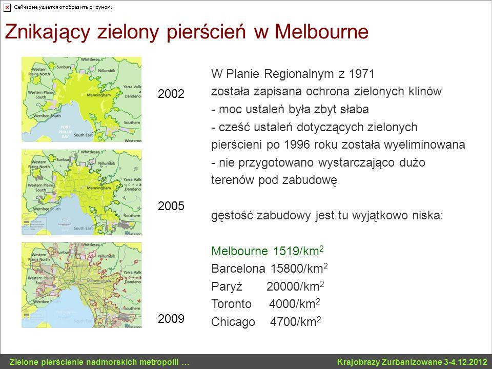 Znikający zielony pierścień w Melbourne 2002 2005 2009 W Planie Regionalnym z 1971 została zapisana ochrona zielonych klinów - moc ustaleń była zbyt s