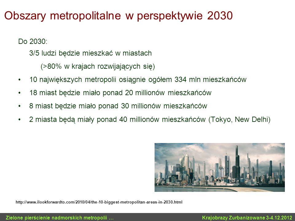 Obszary metropolitalne w perspektywie 2030 Do 2030: 3/5 ludzi będzie mieszkać w miastach (>80% w krajach rozwijających się) 10 największych metropolii