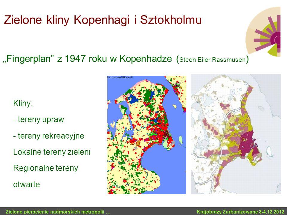 Zielone kliny Kopenhagi i Sztokholmu Zielone pierścienie nadmorskich metropolii … Krajobrazy Zurbanizowane 3-4.12.2012 Kliny: - tereny upraw - tereny