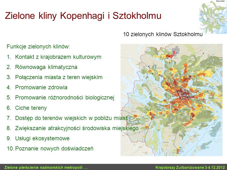 Zielone kliny Kopenhagi i Sztokholmu Funkcje zielonych klinów: 1.Kontakt z krajobrazem kulturowym 2.Równowaga klimatyczna 3.Połączenia miasta z teren