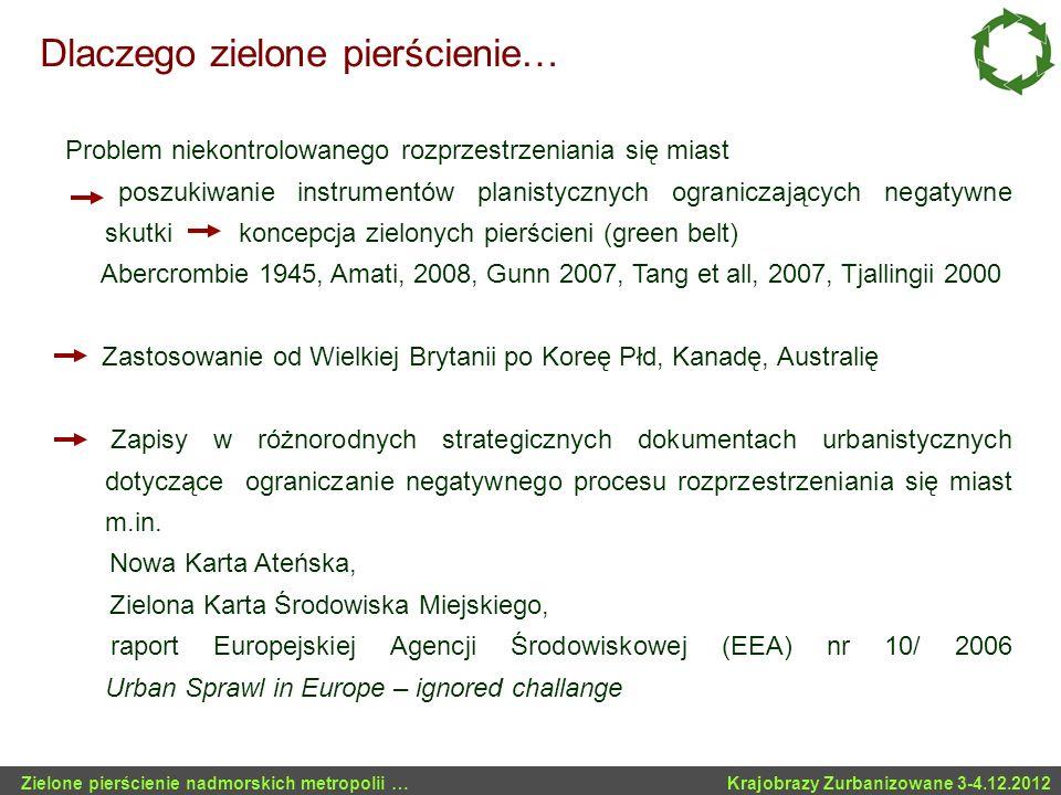 Zielone kliny Kopenhagi i Sztokholmu Fingerplan z 1947 roku w Kopenhadze (Steen Eiler) Problemy: - Koncepcję klinów wprowadzono zbyt późno – zabudowa pojawiła się już wcześniej terenach proponowanych do ochrony Zielone pierścienie nadmorskich metropolii … Krajobrazy Zurbanizowane 3-4.12.2012