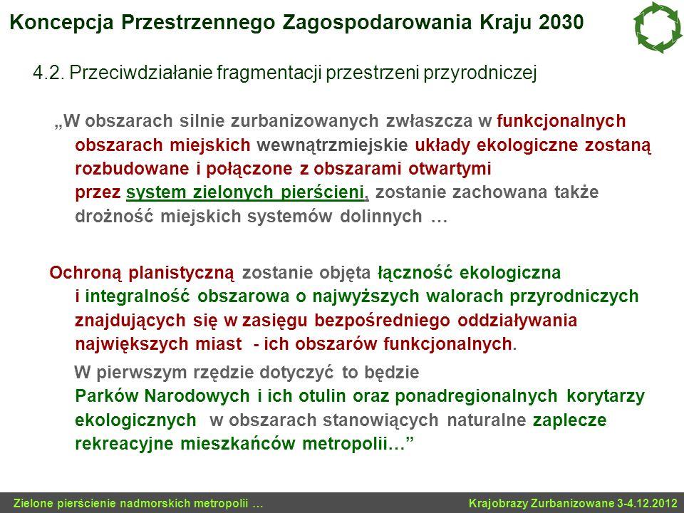 Koncepcja Przestrzennego Zagospodarowania Kraju 2030 4.2. Przeciwdziałanie fragmentacji przestrzeni przyrodniczej W obszarach silnie zurbanizowanych z