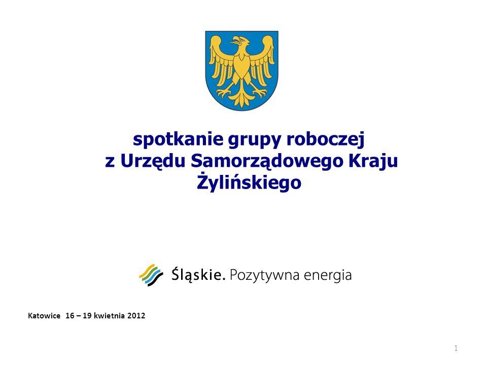 spotkanie grupy roboczej z Urzędu Samorządowego Kraju Żylińskiego 1 Katowice 16 – 19 kwietnia 2012