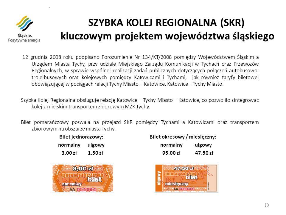 SZYBKA KOLEJ REGIONALNA (SKR) kluczowym projektem województwa śląskiego 12 grudnia 2008 roku podpisano Porozumienie Nr 134/KT/2008 pomiędzy Województw