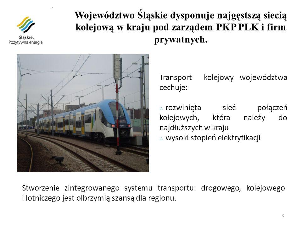 8 Transport kolejowy województwa cechuje: o rozwinięta sieć połączeń kolejowych, która należy do najdłuższych w kraju o wysoki stopień elektryfikacji