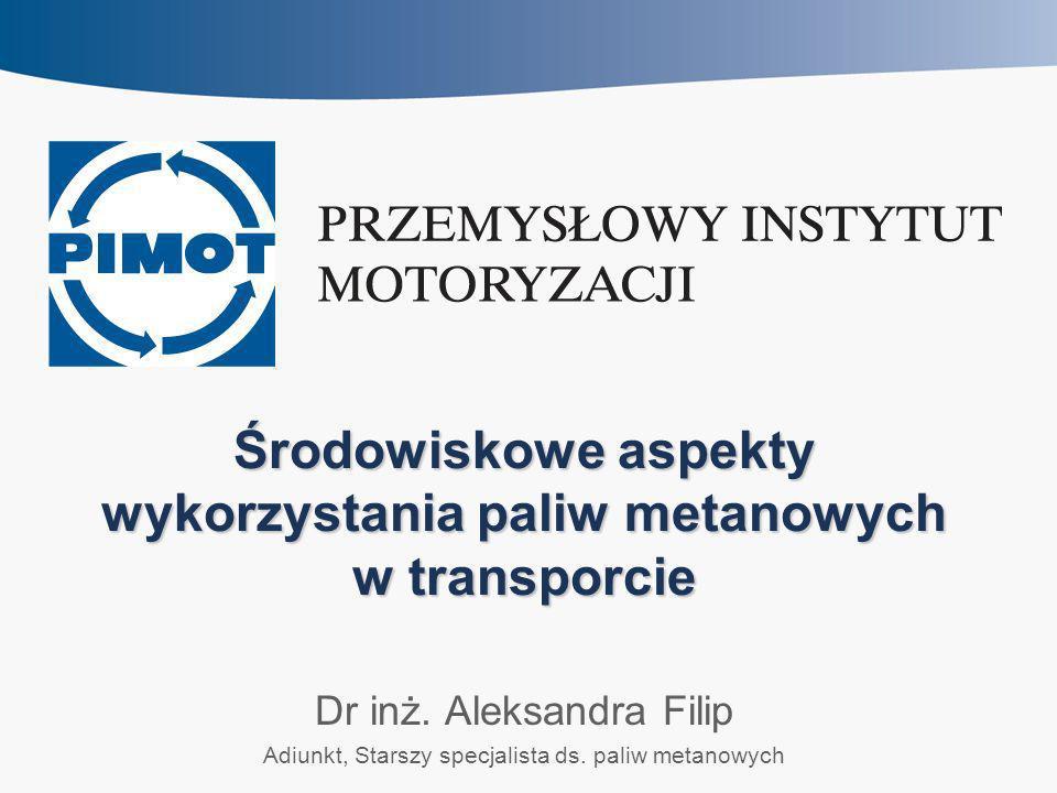 Środowiskowe aspekty wykorzystania paliw metanowych w transporcie Dr inż. Aleksandra Filip Adiunkt, Starszy specjalista ds. paliw metanowych
