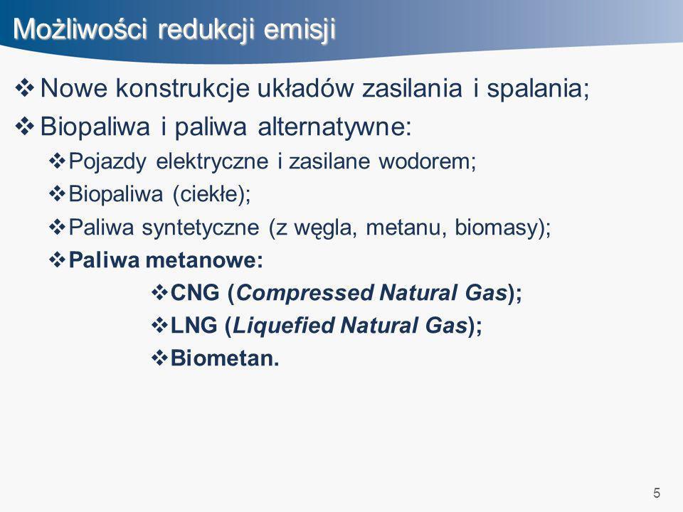 5 Możliwości redukcji emisji Nowe konstrukcje układów zasilania i spalania; Biopaliwa i paliwa alternatywne: Pojazdy elektryczne i zasilane wodorem; B