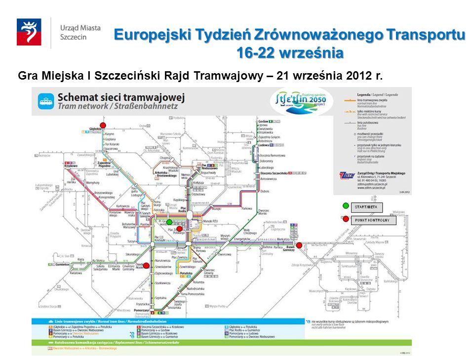 Gra Miejska I Szczeciński Rajd Tramwajowy – 21 września 2012 r. Europejski Tydzień Zrównoważonego Transportu 16-22 września