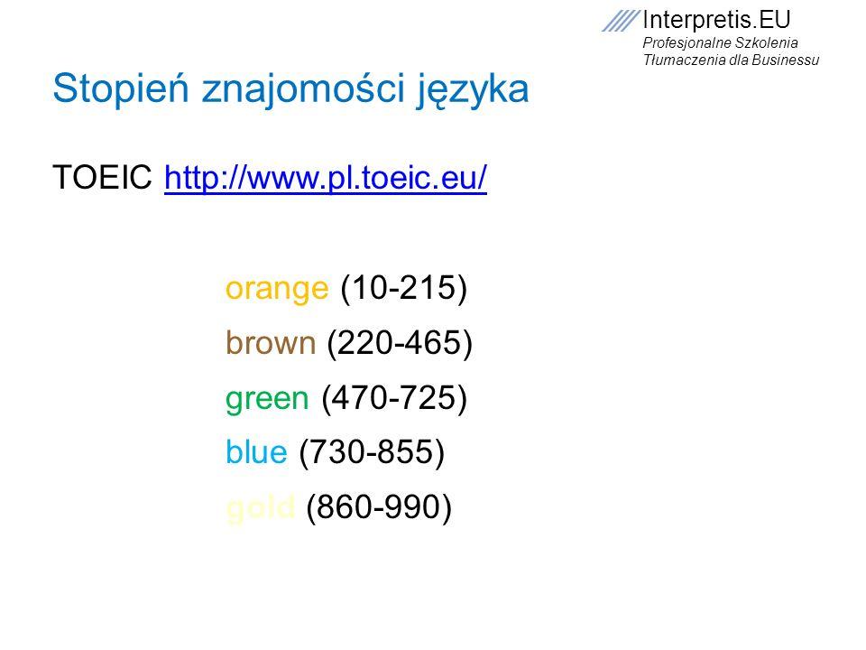 Interpretis.EU Profesjonalne Szkolenia Tłumaczenia dla Businessu Stopień znajomości języka TOEIC http://www.pl.toeic.eu/http://www.pl.toeic.eu/ orange