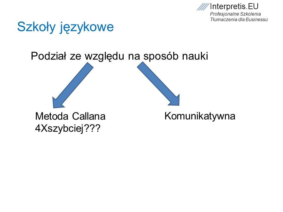 Interpretis.EU Profesjonalne Szkolenia Tłumaczenia dla Businessu Szkoły językowe Metoda Callana 4Xszybciej??? Komunikatywna Podział ze względu na spos