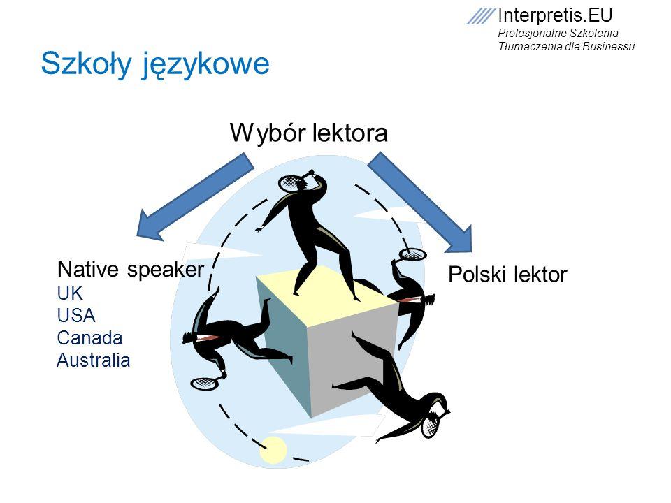 Interpretis.EU Profesjonalne Szkolenia Tłumaczenia dla Businessu Szkoły językowe Wybór lektora Native speaker UK USA Canada Australia Polski lektor