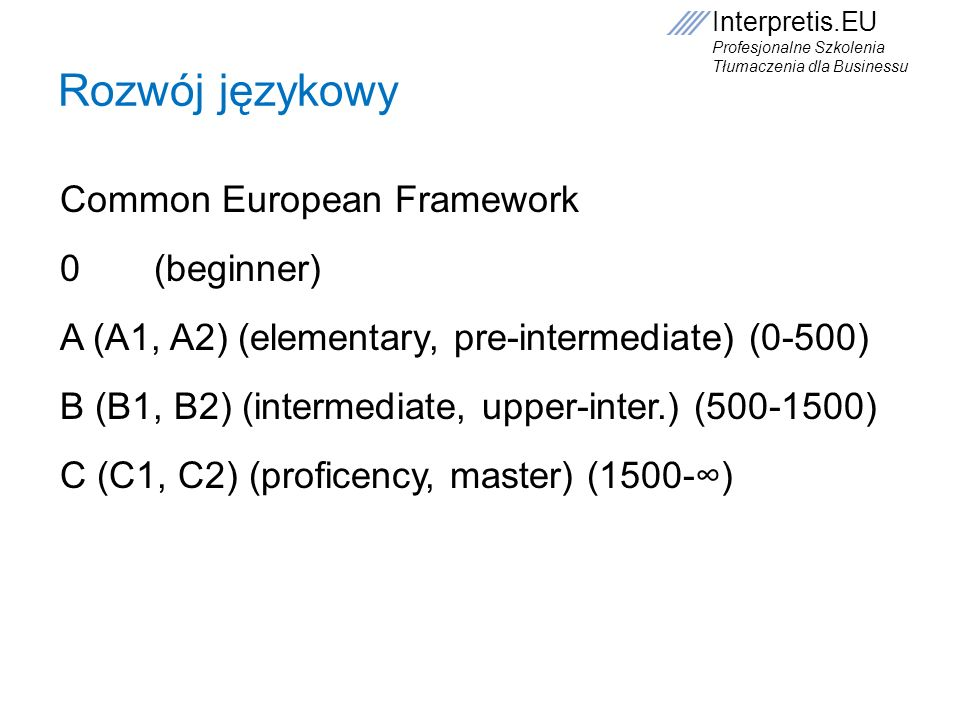 Interpretis.EU Profesjonalne Szkolenia Tłumaczenia dla Businessu Rozwój językowy Common European Framework 0 (beginner) A (A1, A2) (elementary, pre-in
