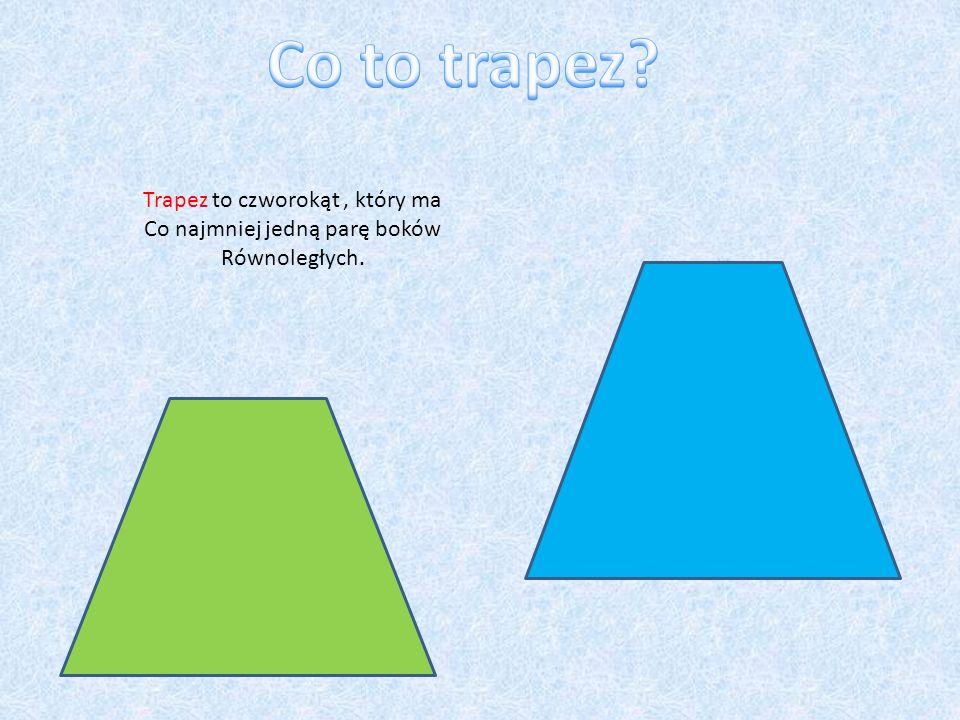 Trapez to czworokąt, który ma Co najmniej jedną parę boków Równoległych.