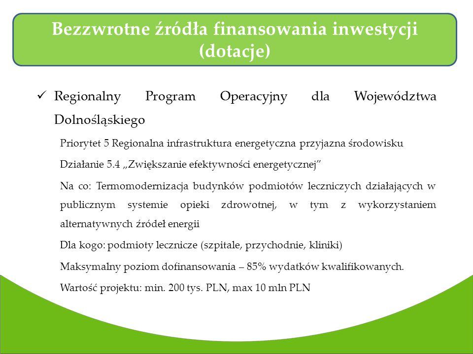 Regionalny Program Operacyjny dla Województwa Dolnośląskiego Priorytet 5 Regionalna infrastruktura energetyczna przyjazna środowisku Działanie 5.4 Zwiększanie efektywności energetycznej Na co: Termomodernizacja budynków podmiotów leczniczych działających w publicznym systemie opieki zdrowotnej, w tym z wykorzystaniem alternatywnych źródeł energii Dla kogo: podmioty lecznicze (szpitale, przychodnie, kliniki) Maksymalny poziom dofinansowania – 85% wydatków kwalifikowanych.
