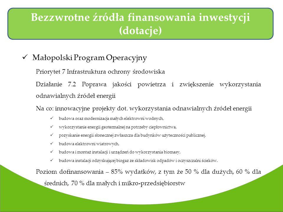 Małopolski Program Operacyjny Priorytet 7 Infrastruktura ochrony środowiska Działanie 7.2 Poprawa jakości powietrza i zwiększenie wykorzystania odnawialnych źródeł energii Na co: innowacyjne projekty dot.