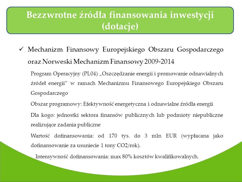 Mechanizm Finansowy Europejskiego Obszaru Gospodarczego oraz Norweski Mechanizm Finansowy 2009-2014 Program Operacyjny (PL04) Oszczędzanie energii i promowanie odnawialnych źródeł energii w ramach Mechanizmu Finansowego Europejskiego Obszaru Gospodarczego Obszar programowy: Efektywność energetyczna i odnawialne źródła energii Dla kogo: jednostki sektora finansów publicznych lub podmioty niepubliczne realizujące zadania publiczne Wartość dofinansowania: od 170 tys.
