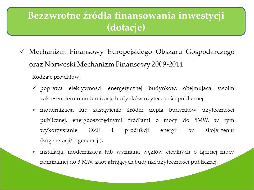 Mechanizm Finansowy Europejskiego Obszaru Gospodarczego oraz Norweski Mechanizm Finansowy 2009-2014 Rodzaje projektów: poprawa efektywności energetycznej budynków, obejmująca swoim zakresem termomodernizację budynków użyteczności publicznej modernizacja lub zastąpienie źródeł ciepła budynków użyteczności publicznej, energooszczędnymi źródłami o mocy do 5MW, w tym wykorzystanie OZE i produkcji energii w skojarzeniu (kogeneracji/trigeneracji), instalacja, modernizacja lub wymiana węzłów cieplnych o łącznej mocy nominalnej do 3 MW, zaopatrujących budynki użyteczności publicznej.