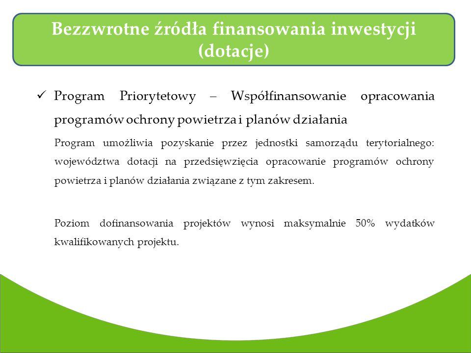 Program Priorytetowy – Współfinansowanie opracowania programów ochrony powietrza i planów działania Program umożliwia pozyskanie przez jednostki samorządu terytorialnego: województwa dotacji na przedsięwzięcia opracowanie programów ochrony powietrza i planów działania związane z tym zakresem.