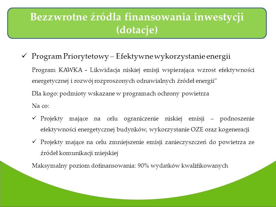 Program Priorytetowy – Efektywne wykorzystanie energii Program KAWKA - Likwidacja niskiej emisji wspierająca wzrost efektywności energetycznej i rozwój rozproszonych odnawialnych źródeł energii Dla kogo: podmioty wskazane w programach ochrony powietrza Na co: Projekty mające na celu ograniczenie niskiej emisji – podnoszenie efektywności energetycznej budynków, wykorzystanie OZE oraz kogeneracji Projekty mające na celu zmniejszenie emisji zanieczyszczeń do powietrza ze źródeł komunikacji miejskiej Maksymalny poziom dofinansowania: 90% wydatków kwalifikowanych Bezzwrotne źródła finansowania inwestycji (dotacje)